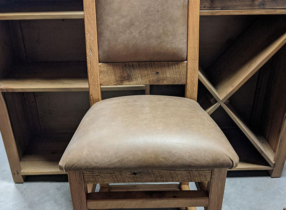 Amish Wood Chair Brown Accent