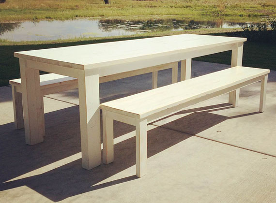 Local Wood Table Benches